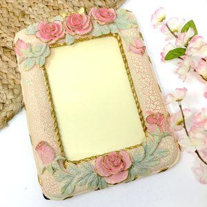 3/$25 VINTAGE Pink Rose Resin 5x7 Picture Frame